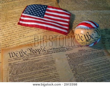Constitution Baseball And Flag