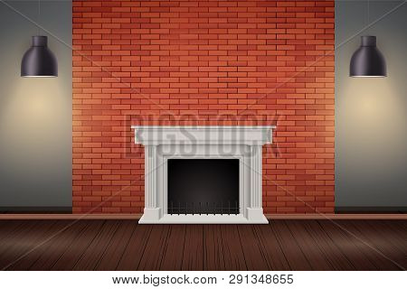Interior Of Red Brick Wall With Fireplace And Vintage Pendant Lamps. Fashion Living Room Interior. V