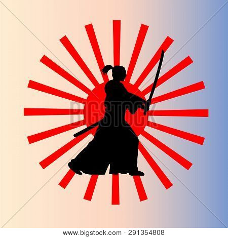 The Attacking Samurai With A Sword Against The Background Of A Rising Sun.