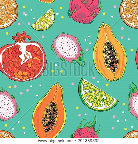 Seamless Pattern With Exotic Tropical Fruits. Pomegranate, Papaya, Lemon, Orange, Pitahaya, Lime. Co