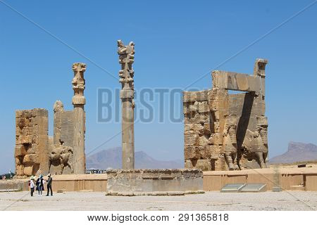 Persepolis, Iran - April 2016.  Colonnade Of Persepolis. Ruins Of The Ceremonial Capital Of The Pers