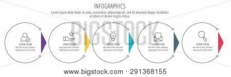 Modern Line Vector Illustration. Infographic Circles Template With Five Elements, Sectors, Icons. De