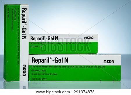Chonburi, Thailand-october 27, 2018 : Reparil Gel N. Aescin And Diethylamine Salicylate Gel For Anto