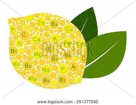 Lemon Benefits. Vitamins And Minerals Of Lemon. Infographics Nutrients In Lemon Fruit. Raster Illust
