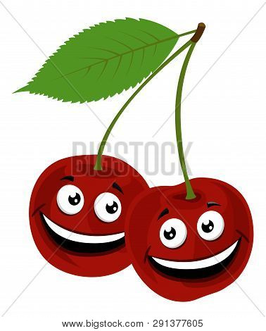 Cherry. Raster Illustration Of A Funny Pair Of Cherries With Face, On White Background.