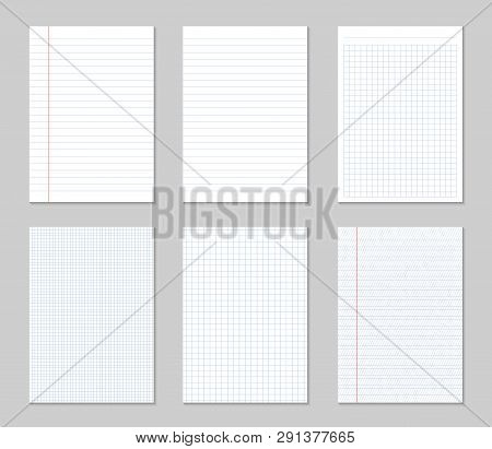 Creative Vector Illustration Of Realistic Square, Lined Paper Blank Sheets Set Isolated On Transpare