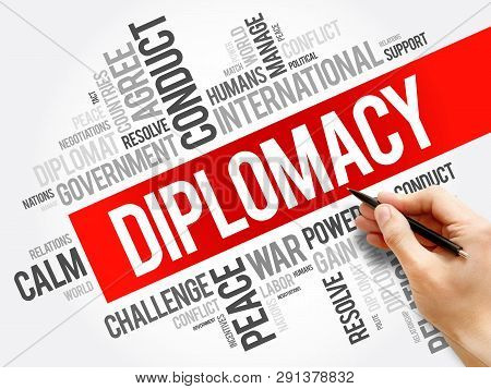 Diplomacy Word Cloud Collage, Political Business Concept Background