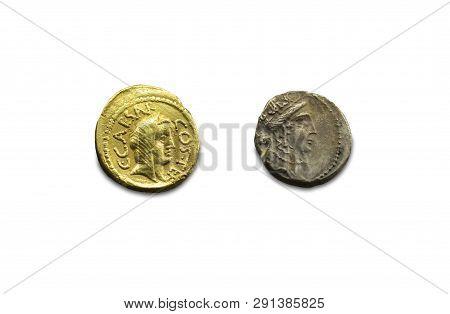 Merida, Spain - August 25th, 2018: Gaius Julius Caesar Coins. Roman General And Dictator. National M