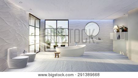 3d Illustration Of Modern Bathroom With Rounded Bathtub. Ceramic Sink And Round Mirror With Textured