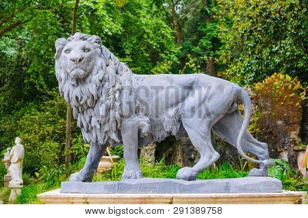 Statue Of A Lion In Quinta Da Regaleira Park, Sintra, Portugal