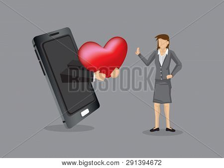Hand From Mobile Phone Holding A Heart For Cartoon Woman, Metaphor For Using Modern Technology To Co