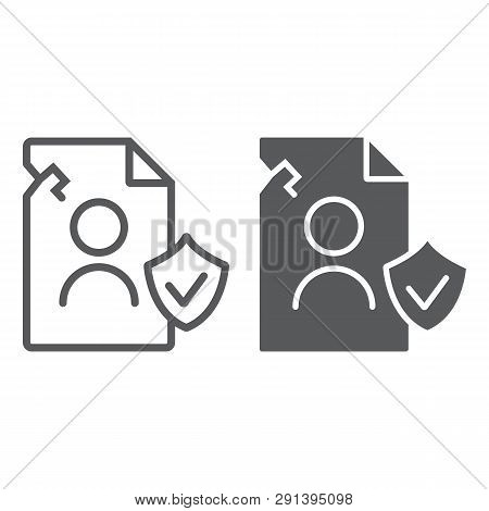 Breach Personall Data Line And Glyph Icon, Private And Protect, Privacy Breach Sign, Vector Graphics
