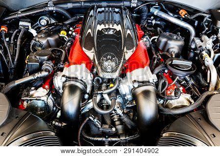 Indianapolis - Circa March 2019: 3.8 Litre Twin Turbo V8 Engine Of A Maserati Levante. Maserati Is A