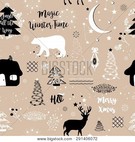 Winter Background. Seamless Pattern Vector Illustration. Collection Pattern Of  Christmas Trees, Twi