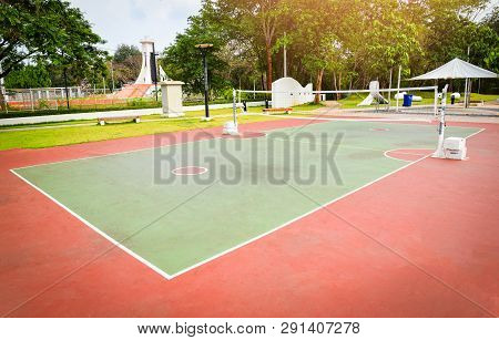 Sepak Takraw Court Sport Outdoor For For Playing Sepak Takraw Ball Or Rattan Ball Standard Size And