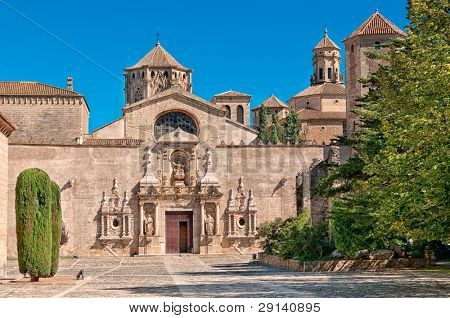 Main entrance, Monastery of Santa Maria de Poblet, Tarragona Province, Spain