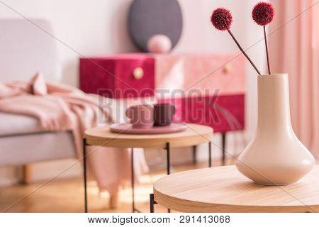 Fancy Flower In Beige Vase On Wooden Coffee Table In Fashionable Living Room