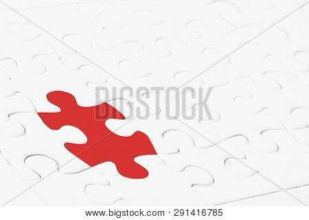 Leadership or thinking different concept. Close up red jigsaw puzzle in the midst of white. Depicts special person with a thought that is a leader And different from the general ones Or strange things poster