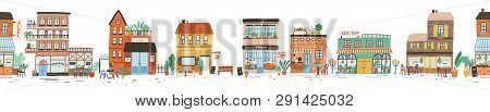 Urban Landscape Or View Of European City Street With Stores, Shops, Sidewalk Cafe, Restaurant, Baker