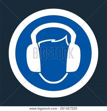 Symbol Wear Ear Muff Sign On Black Background