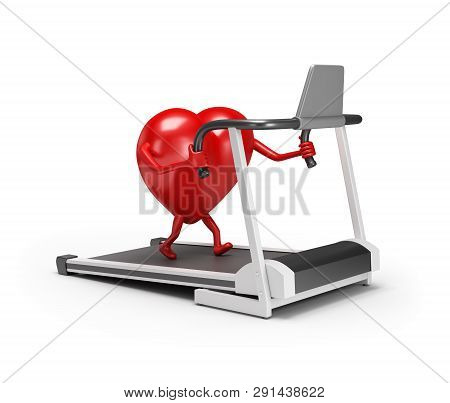 3d Character Heart Trains On A Treadmill. 3d Image. White Background.