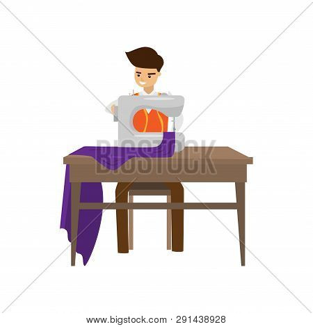 Tailor Sews Clothes On Sewing Machine Isolated On White Background