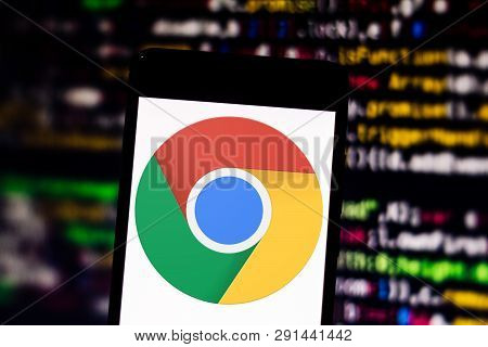 March 25, 2019, Brazil. Google Chrome Browser Logo On Your Mobile Device. Google Chrome Is An Intern