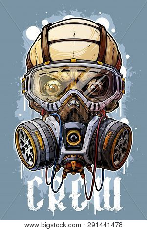 Detailed Graphic Cool Realistic Colorful Human Skull With Protective Gas Mask And Crazy Eyes. Isolat