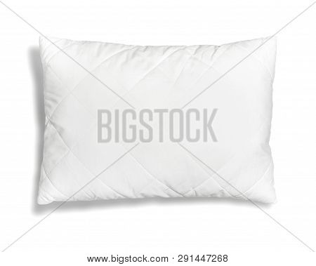 Soft White Quilted Pillow Isolated On White Background Top View. Clean Pillow, Interior Item, Beddin