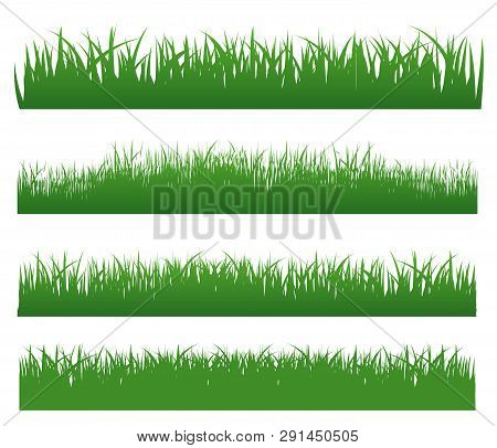 Grass Set With Grass Elements On White Background