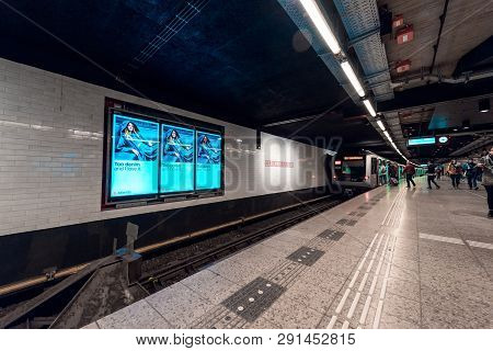 Metro Station, Amsterdam Central Station, View On The Platform, Nice Gloing Blue Colours, 3 March 20