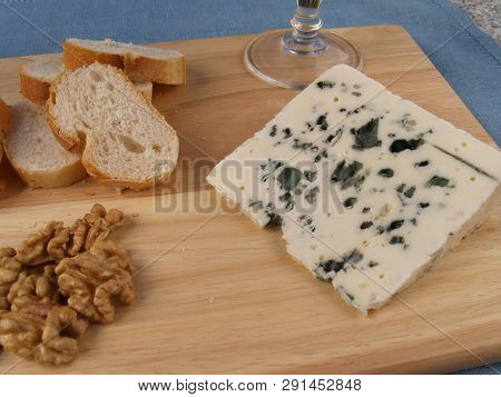 Roquefort Cheese Piece Of French Blue Cheese Roquefort, Made From Sheep Milk With Nuts And Bread