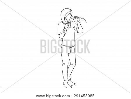 One Continuous Single Drawn Line Art Doodle Man Rock And Roll, Rock Band, Musician Soloist, Singer,