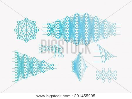 A lot of  Neural network diagram, input and output data, hidden layers. Data analysis, concept pattern, white background poster