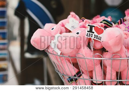 Uae, Dubai - January, 2019: Pink Camel Toys At A Gift Shop In Al Seef Market