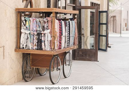 Uae, Dubai - January, 2019: Trolley With A Variety Of Scarves At The Arabic Market In Al Seef Area