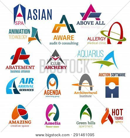 Corporate Identity Letter A Business Icons. Vector Recreation And Technology, Audit And Consulting,