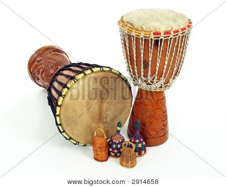 Djembe Drums And Caxixi Shakers