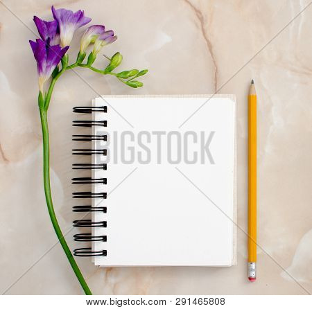 Flowers And Blank Notepad For