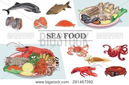 Flat Seafood Colorful Composition With Lobster Crayfish Squid Octopus Fish Caviar Mussels Oysters Sc