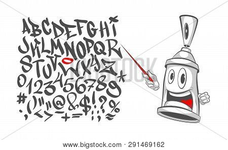 Graffiti Character With A Pointer In His Hand - Teaches The Alphabet. Spray Can. Graffiti Street Art