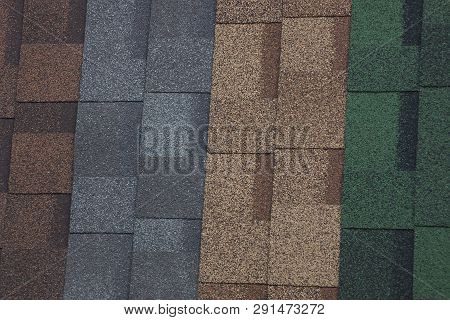 Colored Texture Of Tiles On The Roof Of The House