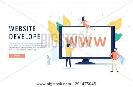 Landing Page Template Of Website On Desktop Illustration Concept. Modern Flat Design Concept Of Web