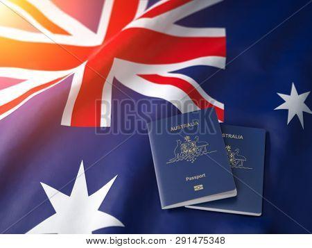 Passport of Australia on the australian flag. Getting a passport of Australia,  naturalization and immigration concept. 3d illustration