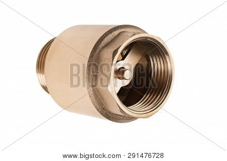 Brass Check Valve Isolated On White Background