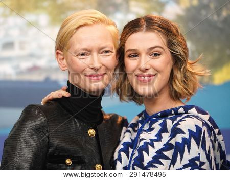 Tilda Swinton,  Honor Swinton-Byrne attend the 'The Souvenir' press conference during the 69th Berlinale Film Festival Berlin at Grand Hyatt Hotel on February 12, 2019 in Berlin, Germany.