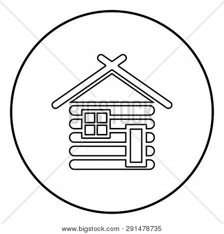 Wooden House Barn With Wood Modular Log Cabins Wood Cabin Modular Homes Icon Outline Black Color Vec