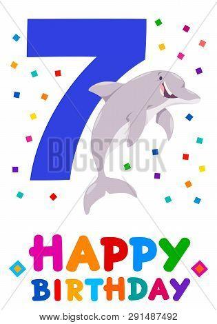 Cartoon Illustration Of The Seventh Birthday Anniversary Greeting Card Design