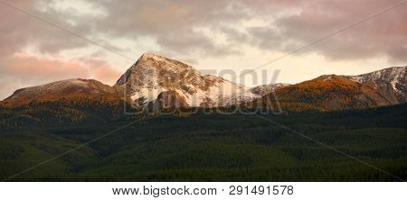 Canadian rocky mountains in sepia color tone