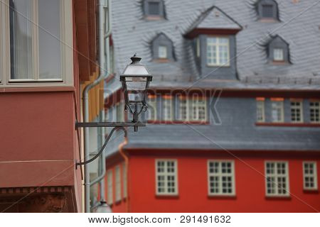 Colorful building exterior and lamp post